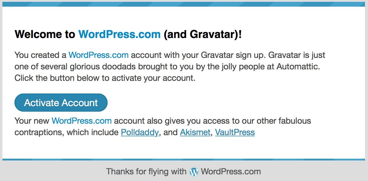 Gravatar 确认邮件